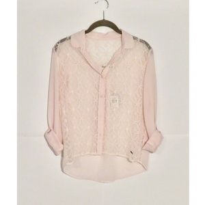 Abercrombie & Fitch | Pink Blouse with Sheer Lace